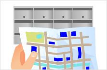 投函しながら地図にチェックをすることで配布もれを防ぎます。